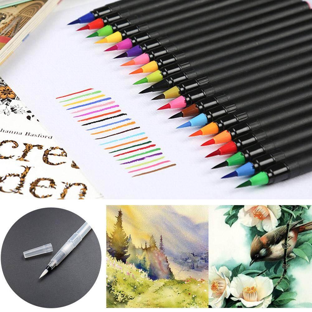 20 Chiếc Bút Màu Nước Nylon Sợi Tóc Đầu Mềm Mại Màu Nước Tranh Nghệ Thuật Tiếp Liệu Với 1 Chiếc Bút Máy