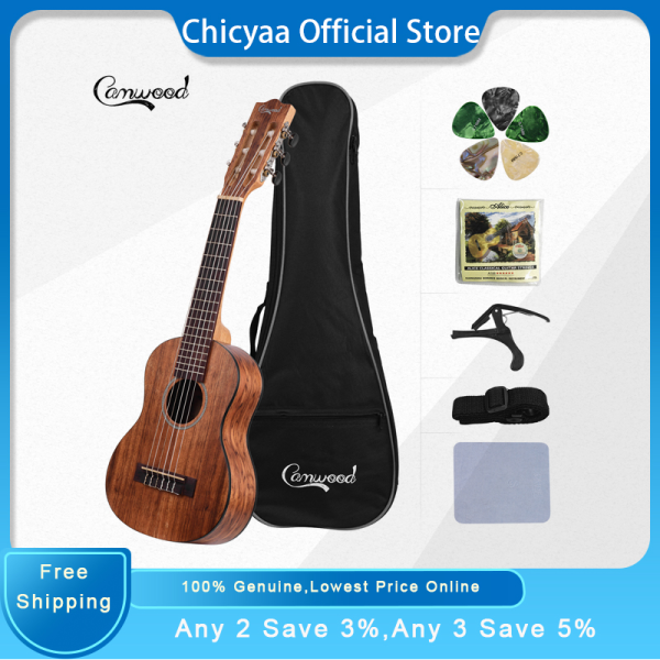 Camwood 28 Inch Acoustic Guitalele Guilele with Gig Bag Strap Spare Strings Cleaning Cloth Capo 5pcs Celluloid Picks for Beginners(6 Types Random Delivery) Malaysia