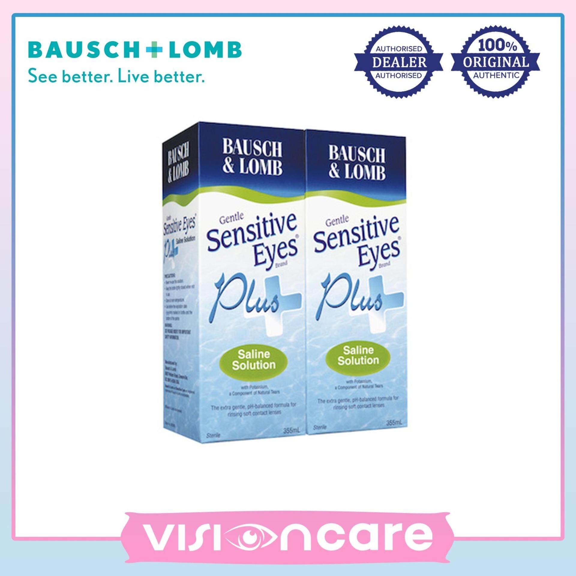 Bausch & Lomb 355ml Twin Pack Sensitive Eyes Plus Saline Solution (2 Boxes)