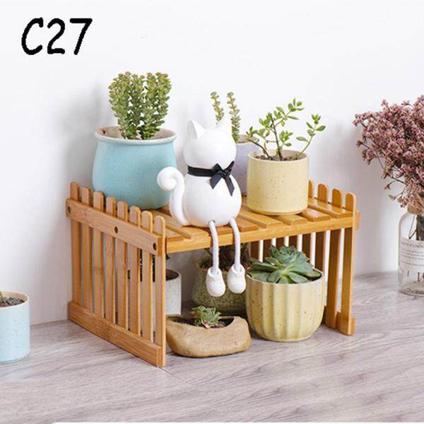 Plant Shelf Wooden Flower Display Stand Bamboo Storage Rack Garden Organizer Rental House Renovation Decoration