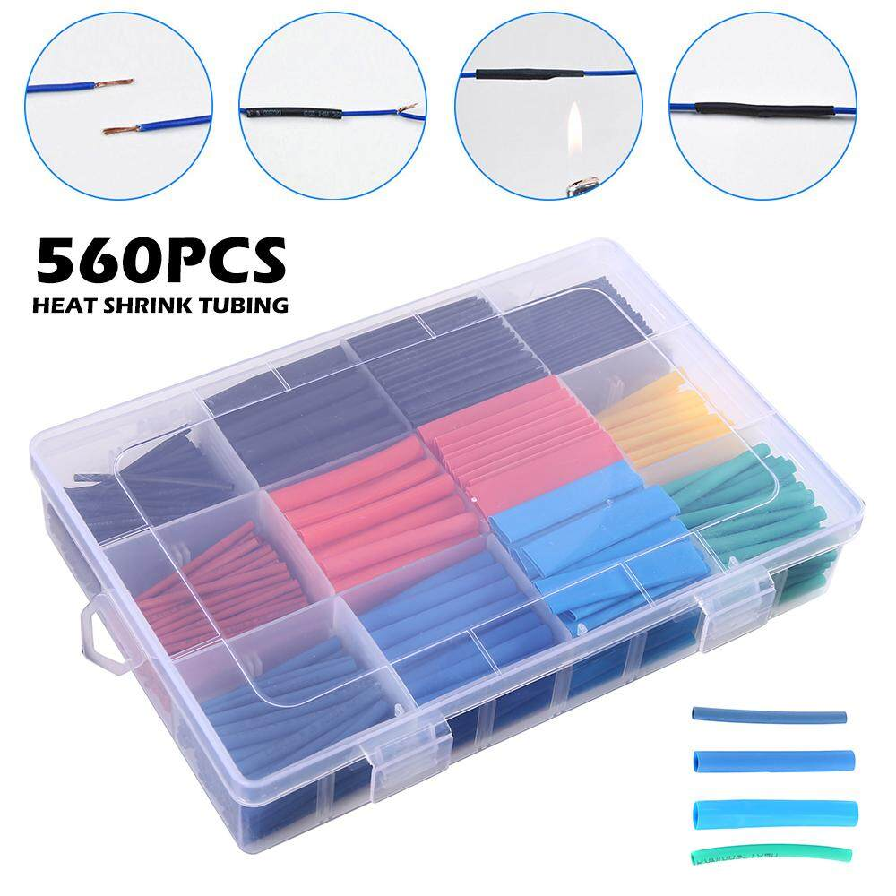 HANDDIY 560PCS Heat Shrink Tube Heat Shrink Tubing Insulation Shrinkable Tube Assortment Electronic Wire Cable Sleeve Kit