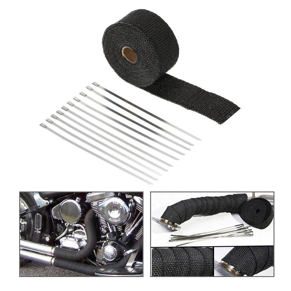 【dickeystore】5m Black Fiberglass Exhaust Pipe Wrap Tape Turbo Heat Insulation Cloth By Dickeystore.