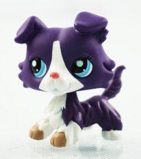 2'' Purple Collie Dog White Animals Blue Eyes Kids Toys Littlest Pet Shop LPS