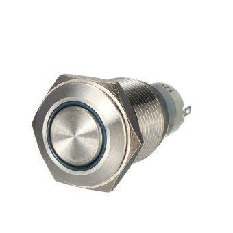 12 V 16 MM Mobil Otomatis Malaikat Mata LED Logam Tombol Tekan Saklar Sejenak Paduan Diseduh Sendiri (Biru) -Internasional