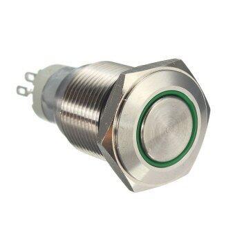 12 V 16 MM Mobil Otomatis Malaikat Mata LED Logam Tombol Tekan Saklar Sejenak Paduan Diseduh Sendiri (Hijau) -Internasional