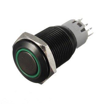 16 Mm 12 V Hitam Aluminium LED Logam Tombol Tekan Mobil Otomatis Diterangi On/Mati Beralih Hijau-Internasional