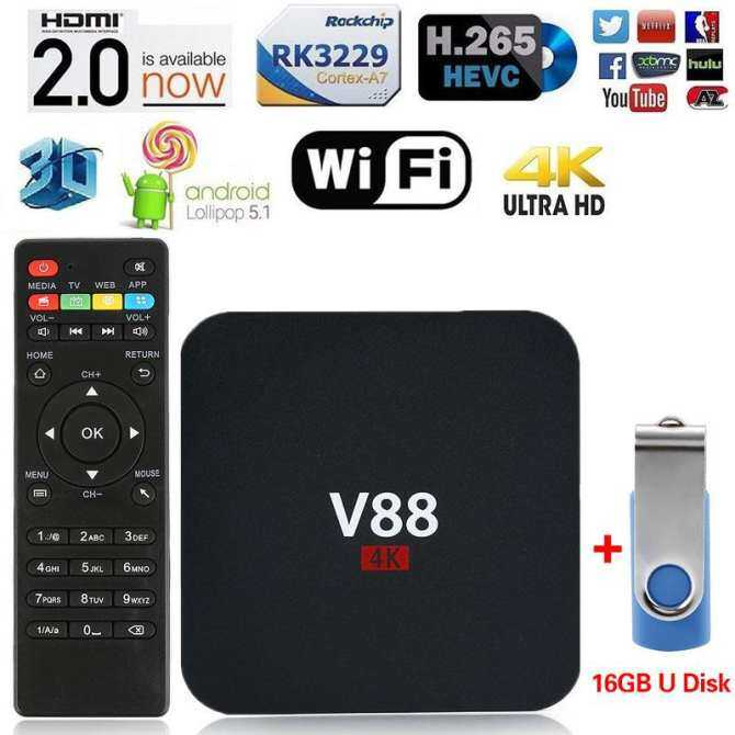Hình ảnh 1pc Black V88 RK3229 Quadcore TV Box 1G/8G 4K Android 5.1 Media Player WIFI HDMI - intl