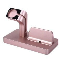 2 in 1 Phone Watch Charging Stand Dock Holder Station for Apple Watch 1 2 3 iPhone 5s 6s plus 7 plus 8 plus iPhone X Rose Gold