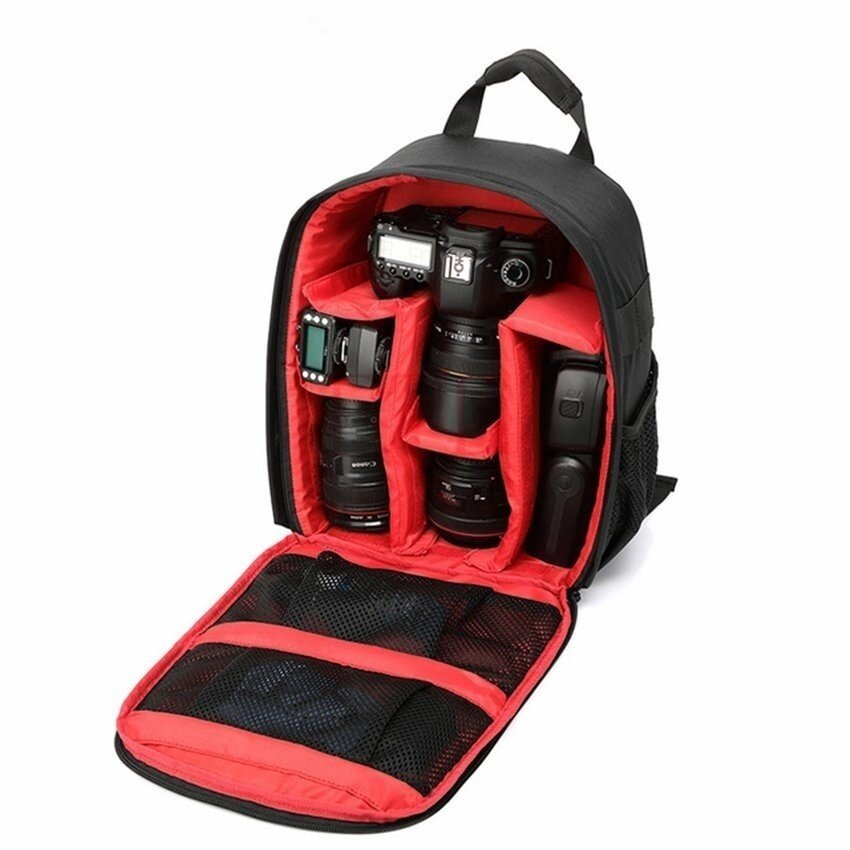 2016 New DSLR Camera Bag Backpack For Canon SX50 SX60 6D70D60D100D500D 550D 600D 650D 700D 1100D (Black with Red)(Black) HAOe2380 - intl