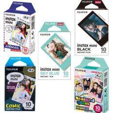 Fujifilm Instax Mini Film 50 Sheets Airmail + Sky Blue + Comic + Stained Glass + Black For Fujifilm Mini 8 Mini 9 Camera Sp-2 By Misuta.