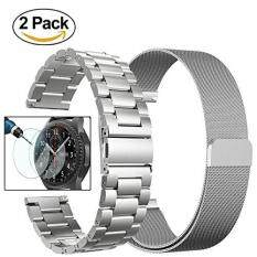 MYR 99. 2Pack 22mm Solid Stainless Steel Metal Replacement Smart Watch Strap with Milanese Loop Mesh Bracelet Metal Strap + Tempered Glass for Samsung Gear ...
