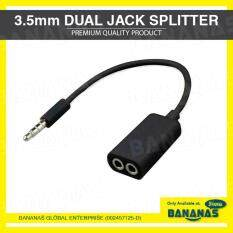 3.5mm Universal Male To 2 Female 1 To 2 Dual Jack Audio Headphone Earphone Splitter Adapter Cable By Bananas Store.