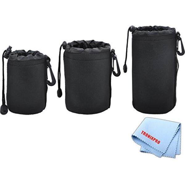 3 Soft Lens Pouches for Digital Camera DSLR Lenses. Small, Medium and Large for Canon, Sony, Pentax, Nikon, Olympus, Panasonic, Nikkor with Drawstring Water Resistant - intl