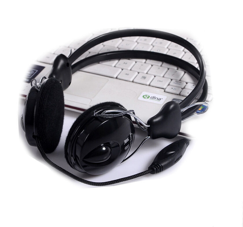 3.5mm Black Earphone Headset Headphone With Microphone For PC Laptop PU Wire MP3/MP4