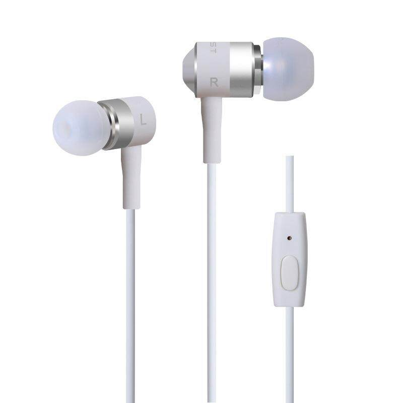 3.5mm Plug Universal In-ear Metal Headset Stereo Bass Earphone Headphone with Mic white