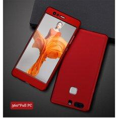 360 Degree Full Body Protection Cover Case With Tempered Glass for Huawei P9 (Red)