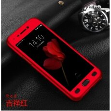 360 Degree Full Body Protection Cover Case With Tempered Glass for Oppo A77 (Red)