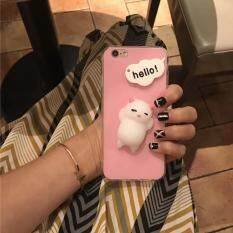 3D Kneading Cute Squishy Silicone Cartoon Cat Acrylic Hard Phone Back Cover for iPhone 7 Plus 5.5 inch - Pink