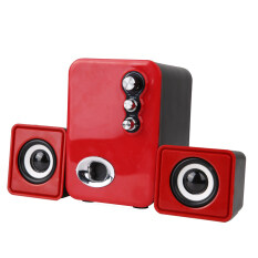 3D Sound 2.1 CH PC Computer Speaker with Dual Subwoofer Laptop Desktop (Red) Malaysia
