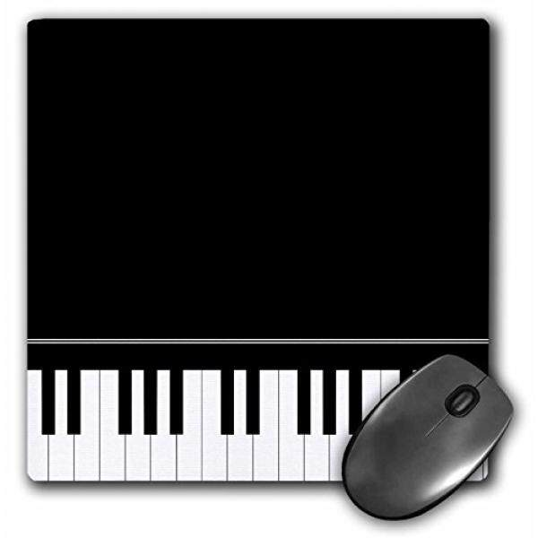 3dRose LLC 8 x 8 x 0.25 Inches Mouse Pad, Black Piano Edge Baby Grand Keyboard Music Design For Pianist Musical Player And Musician Gifts (mp_112947_1) - intl