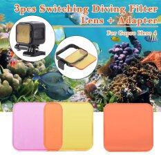 3pcs Diving Filter Kits Red+Purple+Yellow Lens Set for Gopro Hero4 Session