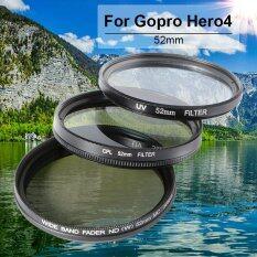 52mm UV + CPL + ND2-400 Neutral Density Filter Set for Gopro Hero4 Session DC704