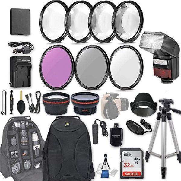 58mm 28 Pc Accessory Kit for Canon EOS Rebel T6, T5, T3, 1300D, 1200D, 1100D DSLRs with 0.43x Wide Angle Lens, 2.2x Telephoto Lens, LED-Flash, 32GB SD, Filter & Macro Kits, Backpack Case, and More - intl