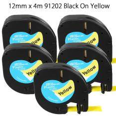 5pcs 12mmx4m Plastic Label Tape Compatible For Dymo Letratag 91202 By Threegold.