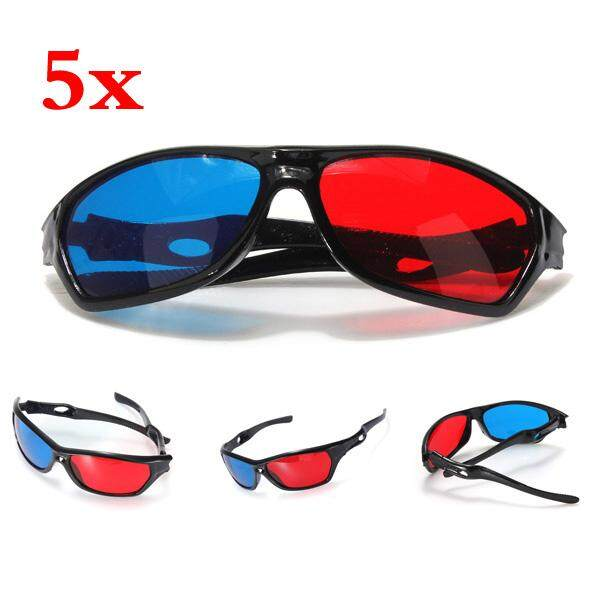 09a08a1498 5x Red and Blue Anaglyph Dimensional 3D VISION Glasses for TV Movie Game  DVD - intl