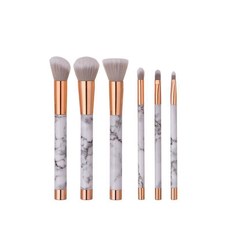 LanJi 6 PCS branch marble bottom cover make-up brush + light yellow cosmetic bag
