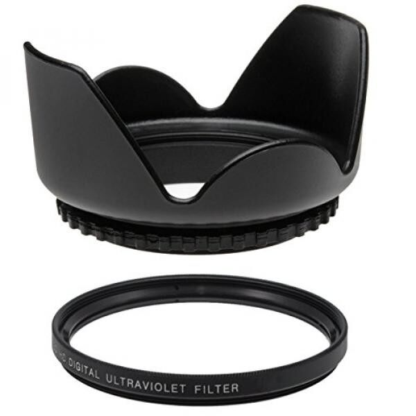 62MM UV Filter + 62mm Tulip Lens Hood for Tamron AF 18-200mm F/3.5-6.3 XR Di II LD Aspherical (IF) Macro, 62 mm Ultraviolet Filter & 62 mm Lens Hood - intl