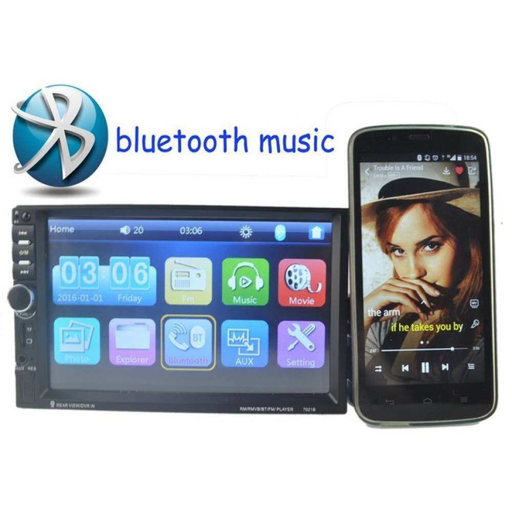 7 Inch 2 DIN Tombol Putar Pengatur Bluetooth Kontrol Mobil MP4 MP5 Radioplayer Dukungan Layar Sentuh Rear View Kamera DVR Di Video FM Usbaux In