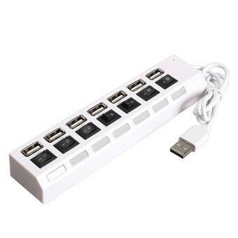 7 Port USB 2.0 Hub Tinggi Kecepatan On Mati Berbagi Sakelar untuk Laptop Buah Putih-Internasional