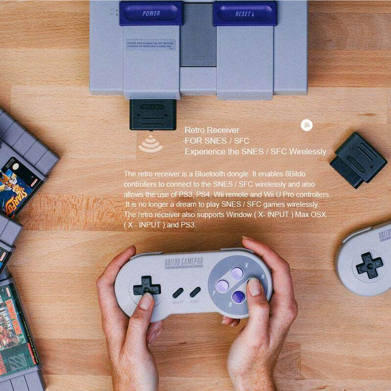 8Bitdo Bluetooth Retro PC Receiver for SNES SFC Game Accessories Compatible  with NES30 / SFC30 / NES Pro / PS3 / PS4 / Wii / Wii U game controllers