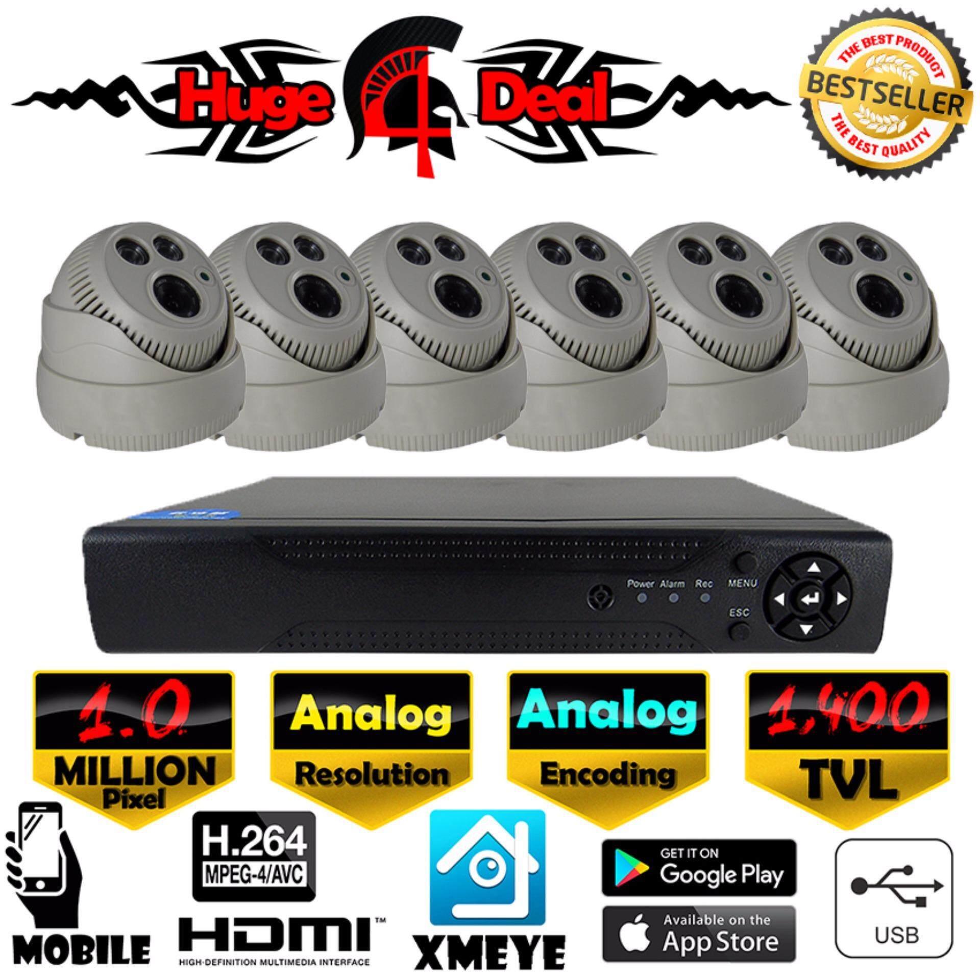 South Rise 8CH Analog CCTV 6 Pieces Kubah Kamera 1400 TVL DVR Perlengkapan Set Analog Decoding TERBARU 2017 Model Inframerah 1400 TVL/960 H 4 Mm Lensa Perekam Video Digital Adaptor Gratis-Internasional