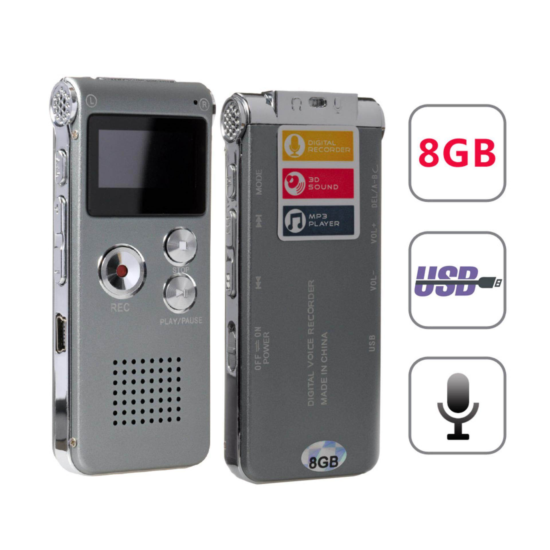 ZKYT 8GB Voice Sound Recorder USB LCD Rechargeable Player Recorder MP3