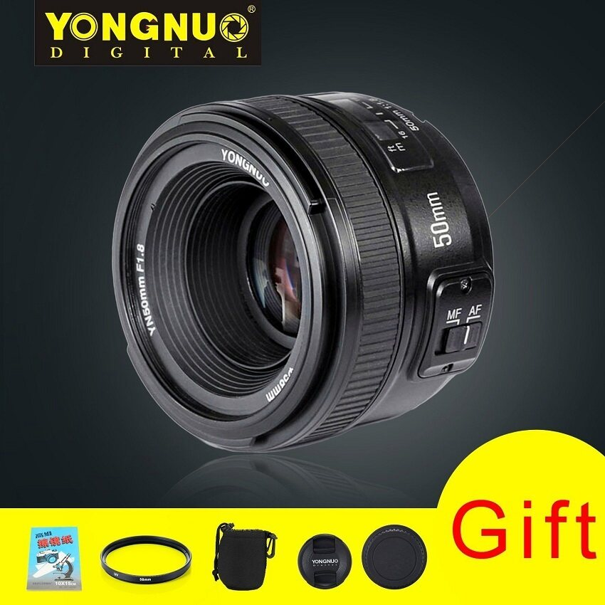 Microeco Yongnuo Standard Prime Auto Focus Lens YN 50MM F/1.8 + 58mm Lens Filter + Lens Pouch and other Gifts For Nikon