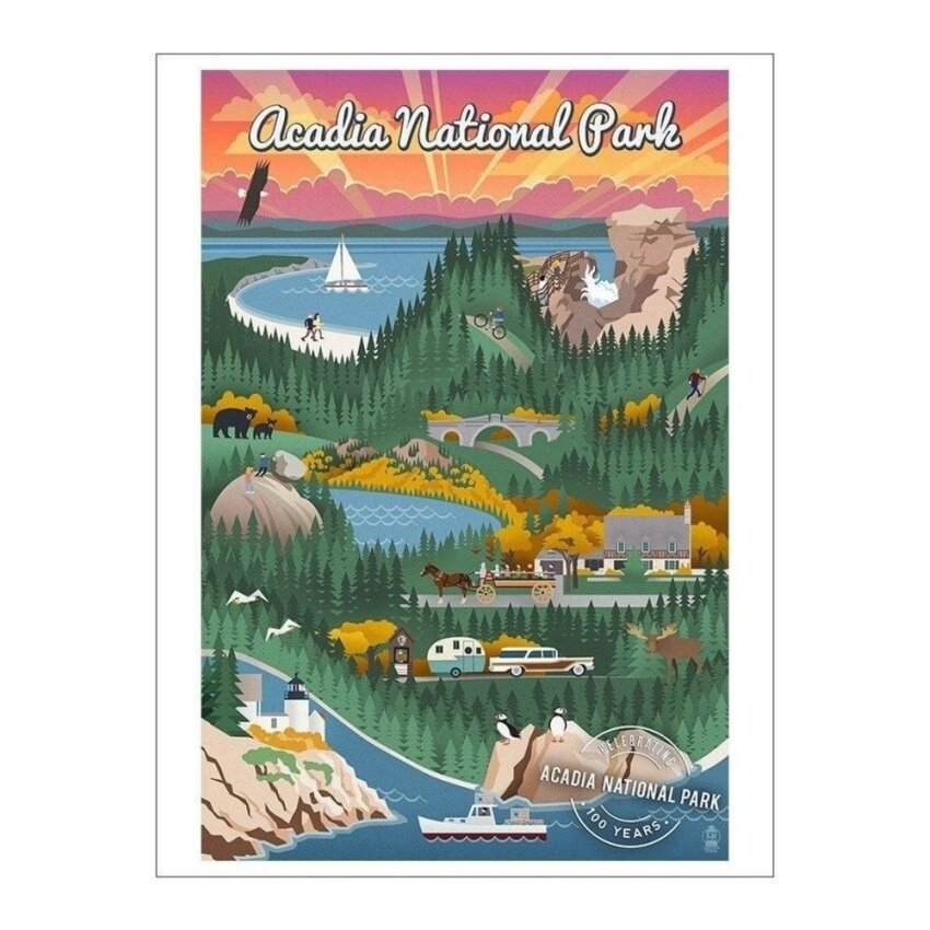 Acadia National Park - Retro View - Centennial Rubber Stamp(Playing Card Deck - 52 Card Poker Size with Jokers) - intl