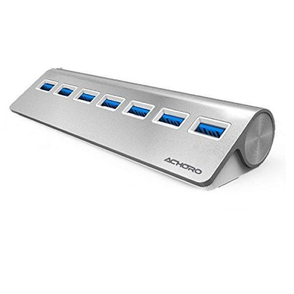 Achoro Triangle Aluminum Alloy USB3.0 7 Ports HUB Blue Light Indicator. Premium Quality SuperSpeed 7 Ports Hub with External Power Supply for Smartphone, Keyboard, Joystick, Printer, Hard Drive, USB Fan - intl