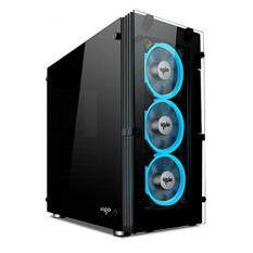 Aigo ATLANTIS Mid-Tower Computer Gaming Case with Tempered side panel with 3 LED ring fans ice blue Malaysia
