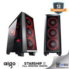 Aigo Starship 2 (Black) Full Window (Casing + 3pcs LED Fan - Optional Fan color) [ATX, Matx, Mini-ITX] Malaysia