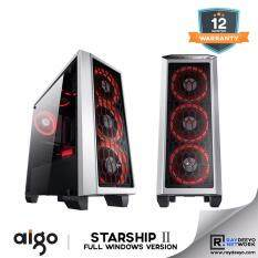 Aigo Starship 2 (White) Full Window (Casing + 3pcs LED Fan - Optional Fan color) [ATX, Matx, Mini-ITX] Malaysia