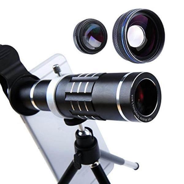 Aiker Lensa Telepon Selular 18X Lensa Telefoto Super Sudut Lebar Lensa Makro 3 In 1 Ponsel Lensa Kamera Kit dengan Klip Universal dan Mini Fleksibel tripod untuk iPhone Samsung dan Sebagian Smartphone (Hitam) -Intl