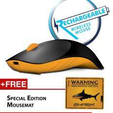 Alcatroz Air Shark 2.4G Rechargeable Wireless Mouse Free Mousemat (Black/Yellow) Malaysia