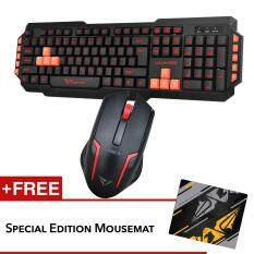 Alcatroz M550 and Asic 5 Multimedia Keyboard Mouse combo Free Mousemat (Red) Malaysia