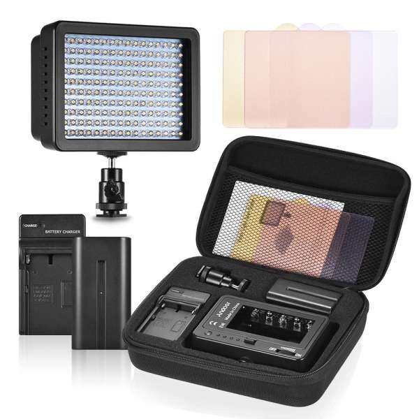 Deqi Andoer 160 Video Camera Light Lamp 10.5W Dimmable 5600K with 4600mAh F750 Charger/