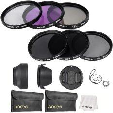 Andoer 52mm Lens Filter Kit UV+CPL+FLD+ND(ND2 ND4 ND8) with Carry Pouch /  Lens Cap / Lens Cap Holder / Tulip & Rubber Lens Hoods / Cleaning Cloth