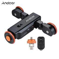 Andoer L4 Autodolly 3 Speed Adjustable with Wireless Remote Control Electric Motorized 3-Wheel Pulley Car Slider Rolling Skater for Canon Nikon Sony DSLR Camera for iPhone X 8 7 7 plus 6 plus for GoPro 5/4/3+/3 Time Lapse/Low Angle/Macro Video Shooting