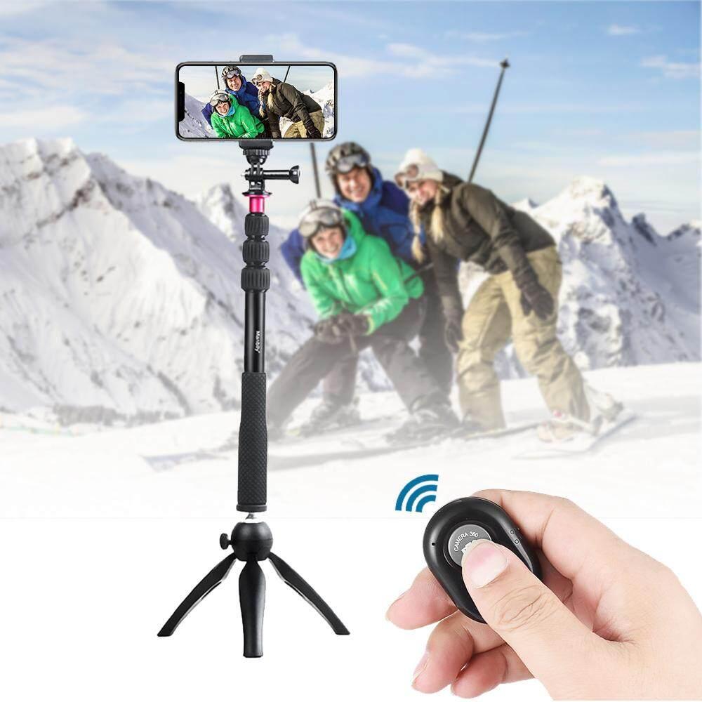 Andoer Selfie Stick + Tripod Mini + Tripod Ponsel Mount + Nirkabel Pengendali Jarak Jauh untuk iPhone X/8/7 Plus untuk Samsung s8 untuk GoPro Pahlawan 6/5/4/3 +/3 Kamera Aksi untuk Digital Video Kamera Foto Video- internasional