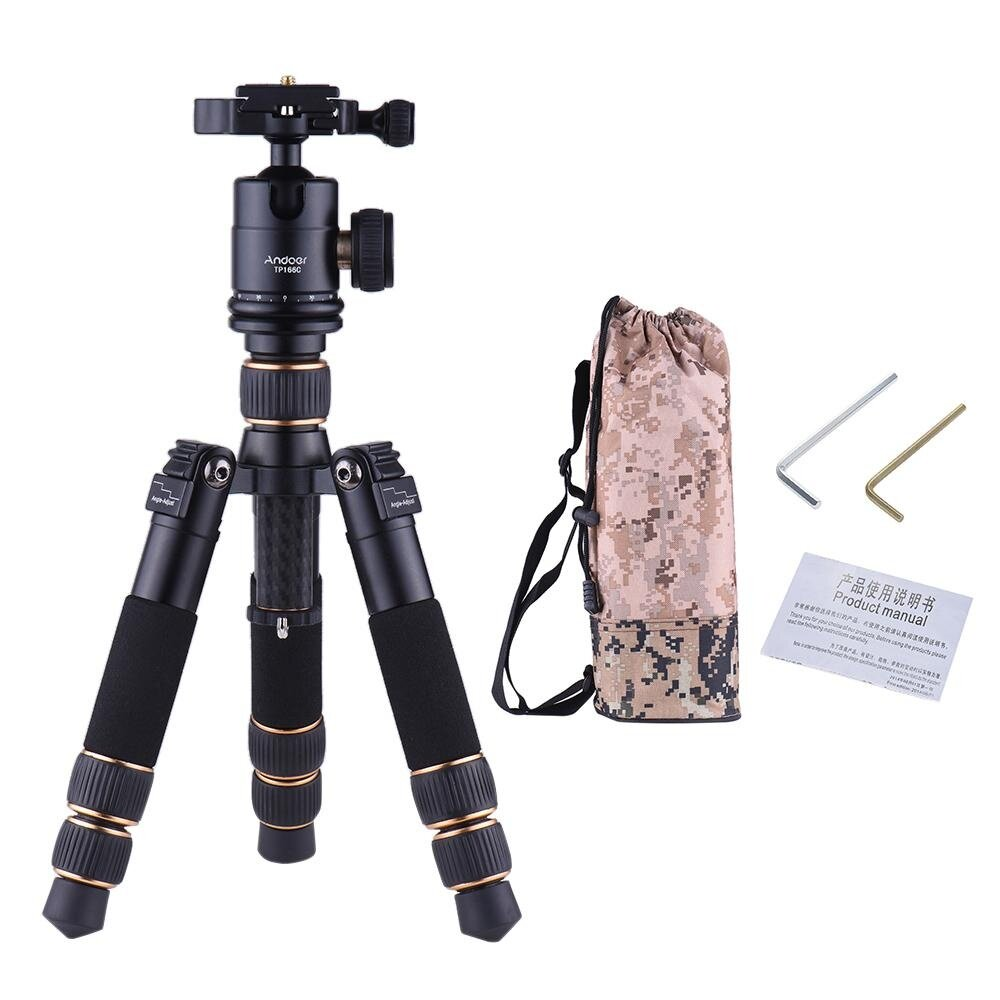 Andoer Tp166C Portable Lightweight Carbon Fiber Table Mini Tripod With Ball Head Kit 3 Section Adjustable Height Fold Only 21Cm For Canon Nikon Sony Camera Dv Camcorder Max Load Capacity 8Kg Intl Coupon